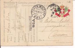 R.ESERCITO ITALIANO,FRANCHIGIA,GULLER POSTA MILITARE 68 A,LINEARE POSTA MILITARE 68 A,1917,PER CREMONA,TIMBRPO POSTE, - 1914-18