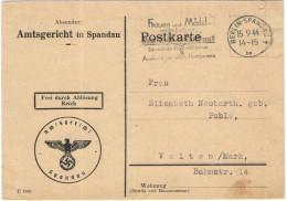 Deutsches Reich - 1944 - Frei Durch Ablösung Reich - Amtsgericht In Spandau - Viaggiata Da Berlin, Spandau Per Velten - Covers & Documents