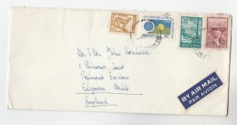 Air Mail ARGENTINA COVER Stamps PUMA , URBAN DAY , TREE,  RIVER  To GB Airmail Label Pumacat - Argentine