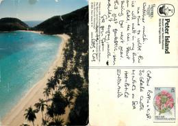 Deadman Bay Beach, Peter Island, British Virgin Islands Postcard Posted 1992 Stamp - Vierges (Iles), Britann.