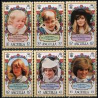 ANGUILLA 1982 - Scott# 485-90 Princess Diana Set Of 6 MNH - Anguilla (1968-...)