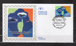 """MONACO 2000 : Enveloppe 1er Jour En Soie """" SANCTUAIRE POUR LES MAMMIFERES MARINS """" N° YT 2287. Parf. état. FDC"""
