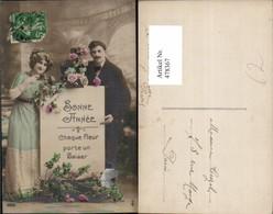 478367,Paar Mit Schild Bonne Annee Blumen Liebe - Couples