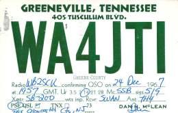 Amateur Radio QSL - WA4JTI - Greeneville, TN -USA- 1967 - 2 Scans - Radio Amateur