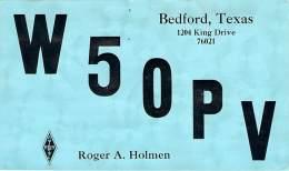 Amateur Radio QSL - W5OPV - Bedford, TX -USA- 1966 - 2 Scans - Radio Amateur