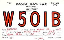 Amateur Radio QSL - W5OIB - Decatur, TX -USA- 1968 - 2 Scans - Radio Amateur