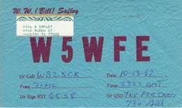 Amateur Radio QSL - W5WFE - Houston, TX -USA- 1967 - 2 Scans - Radio Amateur