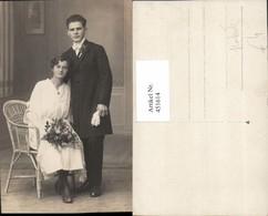 451614,Foto AK Hochzeit Hochzeitsfoto Braut Bräutigam Sessel - Hochzeiten