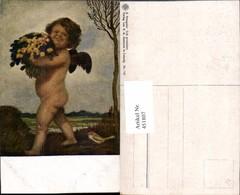 451807,Künstler AK A. Hengeler Ich Gratuliere Engel Blumenstrauß Vogel - Engel