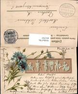 451797,Künstler Litho Engeln Passepartout Kornblumen Blumen - Engel
