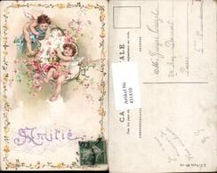 451810,Künstler Litho Engeln Blumen Girlande - Engel