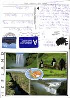 452335,Iceland Landkarte Wasserfall Schlucht Haus Mehrbildkarte - Island