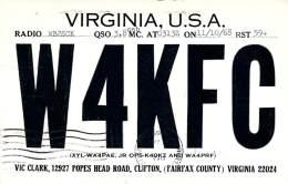 Amateur Radio QSL - W4KFC - Clifton, VA -USA- 1968 - 2 Scans - Radio Amateur