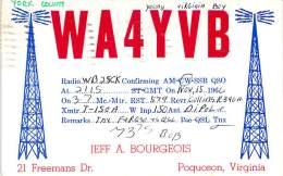 Amateur Radio QSL - WA4YVB - Poquoson, VA -USA- 1966 - 2 Scans - Radio Amateur