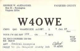 Amateur Radio QSL - W4OWE - Remington, VA -USA- 1967 - 2 Scans - Radio Amateur