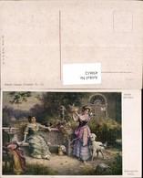 450612,Künstler AK Hans Zatzka Zudringliche Gäste Frauen Tiere Lamm Tauben - Zatzka