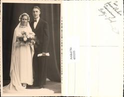455355,Foto AK Hochzeit Hochzeitsfoto Brautpaar Schleier Blumen - Hochzeiten