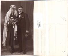 455342,Foto AK Hochzeit Hochzeitsfoto Brautpaar Schleier Hut - Hochzeiten