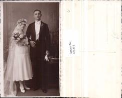 455351,Foto AK Hochzeit Hochzeitsfoto Brautpaar Schleier Rosen - Hochzeiten