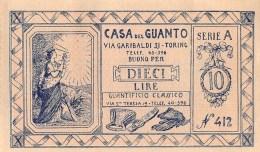 """04706 """"TORINO - CASA DEL GUANTO - BUONO SCONTO LIRE 10 SERIE A / N° 412 ANNI '30 DEL XX SECOLO - FDS """" ORIGINALE - Pubblicitari"""