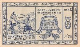 """04711 """"TORINO - CASA DEL GUANTO - BUONO SCONTO CENTESIMI 50 SERIE E / N° 311 ANNI '30 DEL XX SECOLO - FDS """" ORIGINALE - Pubblicitari"""
