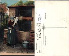 479863,Les Pyrenees Fileuse Alte Frau Spindel Brunnen Volkstypen Europa - Europe