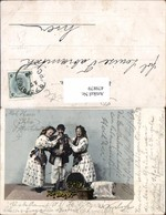 479879,Frauen U. Mann Typen Korb Obst Gehstock Volkstypen Europa - Europe