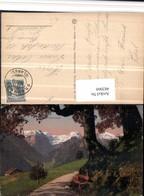 482060,Braunwald Wegpartie Bergkulisse Kt Glarus - GL Glarus