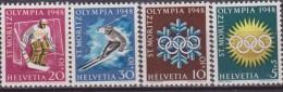 SVIZZERA - 1948 WINTRER OLIMPIC ST. MORIZ OLIMPIADI INVERNALI 4 V.  MNH - Winter 1948: St. Moritz