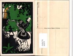 485879,Künstler AK Scherenschnitt Silhouette W. Tubbe Rokoko Küpper Serenade - Scherenschnitt - Silhouette