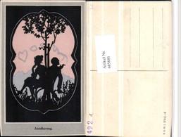 485881,Künstler AK Scherenschnitt Silhouette Annäherung Liebe Pub B.K.W.I. 294/4 - Scherenschnitt - Silhouette