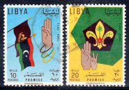1964, Scoutisme De Libye, YT No  240 + 241, Oblitéré,  Lot 45892 - Libië