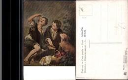 487636,Künstler Ak B. E. Murillo Melonenesser Buben Hund Picknick Essen - Küchenrezepte