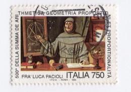 F01855 - Francobollo Stamp - Repubblica Italiana - Fra Luca Pacioli - Mathematics Algebra Geometry Geometria Science - 6. 1946-.. Repubblica