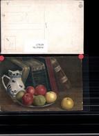 487617,Künstler Ak Stillleben Essen Krug Bücher Teller M. Äpfel Obst - Küchenrezepte