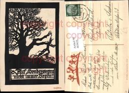 463625,Künstler AK Scherenschnitt Silhouette Georg Plischke Baum Spruch - Scherenschnitt - Silhouette