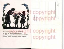 463626,Künstler AK Scherenschnitt Silhouette Kinder Blumen Mutter Gedicht - Scherenschnitt - Silhouette