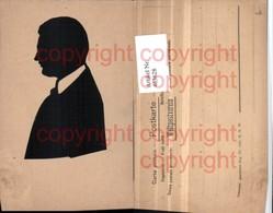 463628,Künstler AK Echter Scherenschnitt Silhouette Mann Seitenportrait - Scherenschnitt - Silhouette