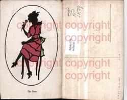 463630,Künstler AK Scherenschnitt Silhouette Rose Frau M. Kleid Stuhl Sessel - Scherenschnitt - Silhouette