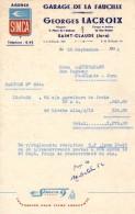 """39:  Facture Du Garage De La Faucille Georges Lacroix Agence """" SIMCA"""" 16 Rue Rosset  à Saint Claude, En 1952 - Frankrijk"""