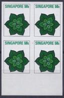 SINGAPUR1973 - Yvert #195 - MNH ** - Pruebas En Bloque De 4 - !Raros! - Singapur (1959-...)