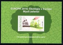 "SLOVAKIA/Slowakei/Slovensko EUROPA 2016 ""Think Green"" Adhesive Booklet** - 2016"