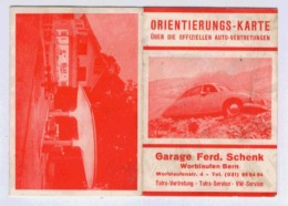 ORIENTIERUNGS-KARTE GARAGE FERD. SCHENK WORBLAUFEN/BERN - Dépliants Touristiques