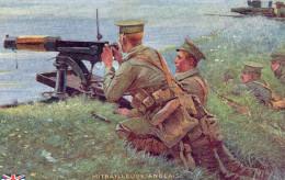 5094. CPA GRANDE BRETAGNE GUERRE 14 18 WW1. ILLUSTRATEUR. MITRAILLEUSE ANGLAISE. ENGLISH MACHINE GUN. - Matériel