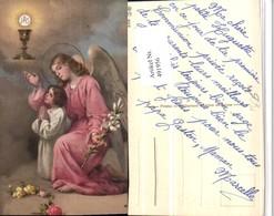 491956,Künstler AK Kind Gebet Engel Lilie Kelch - Engel