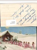 491975,Künstler AK Krippe Stall Hl. Familie Engeln Winterbild - Engel