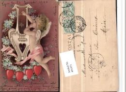 491971,Künstler Litho Engel Harfe Blumen Herzen - Engel