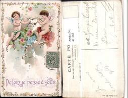 491963,Künstler Litho Engeln Triangel Flöte Blumen - Engel