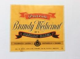 PATRIA   VINTAGE  LABEL  1950.  BRANDY MEDICINAL   CROATIA  ZAGREB  BADEL   12,5 X 11 Cm - Whisky