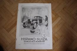 Pub 1931, L'Illusstration Magazine - Automobile Hispano - Suiza / Pub Du Dos Soie Naturel Bellesvue Paris  / 38 -28,5 Cm - Publicité
